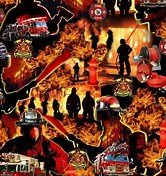 Firefighter Fabric 580 Red Under Fire Allover