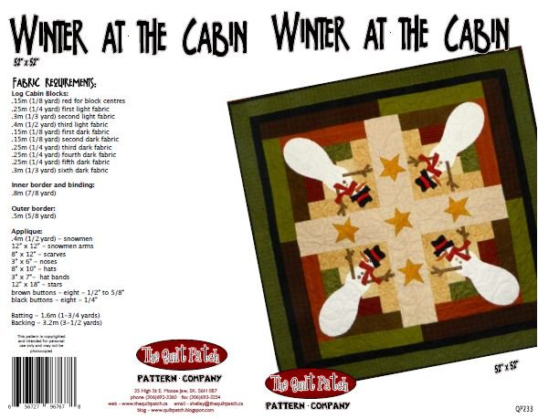 Christmas Sale Pattern: Winter at the Cabin