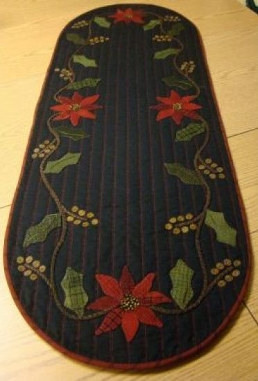 Holly & Pointsettia Table Runner