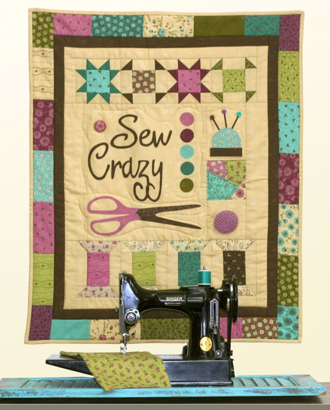 Sew Crazy Wall Hanging by Sandy Gervais 50% OFF SOLD OUT