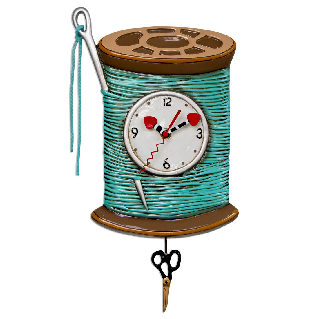 Needle & Thread Sewing Spool Clock