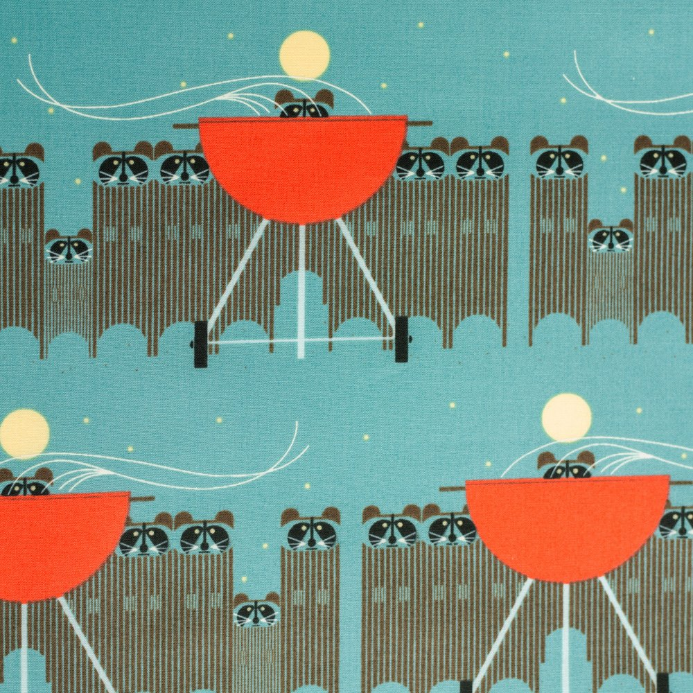 Charley Harper - Cats and Raccs - Big Racc Attack