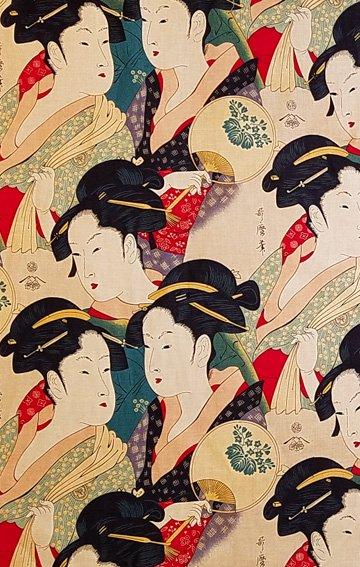 Alexander Henry Fabrics - Indochine - Sisters of the Golden Temple - Dark Tea