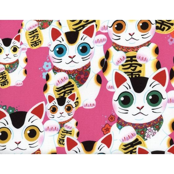 Alexander Henry Fabrics - Indochine - Fuku Kitty - Pink
