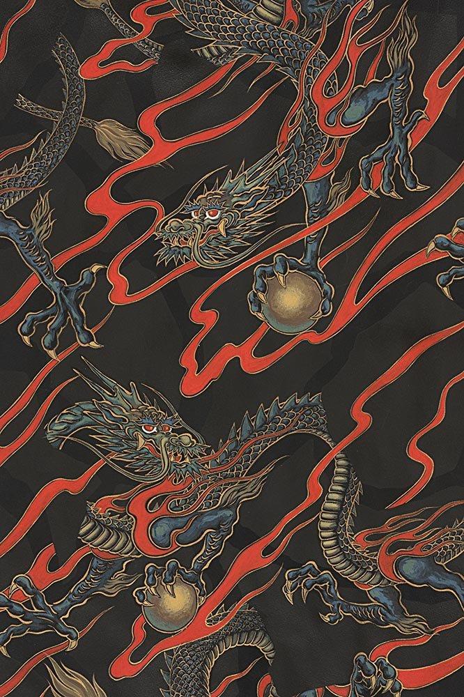 Alexander Henry Fabrics - Golden Tatsu - Black