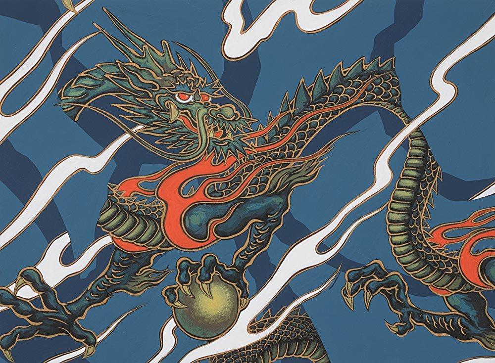 Alexander Henry Fabrics - Golden Tatsu - Indigo