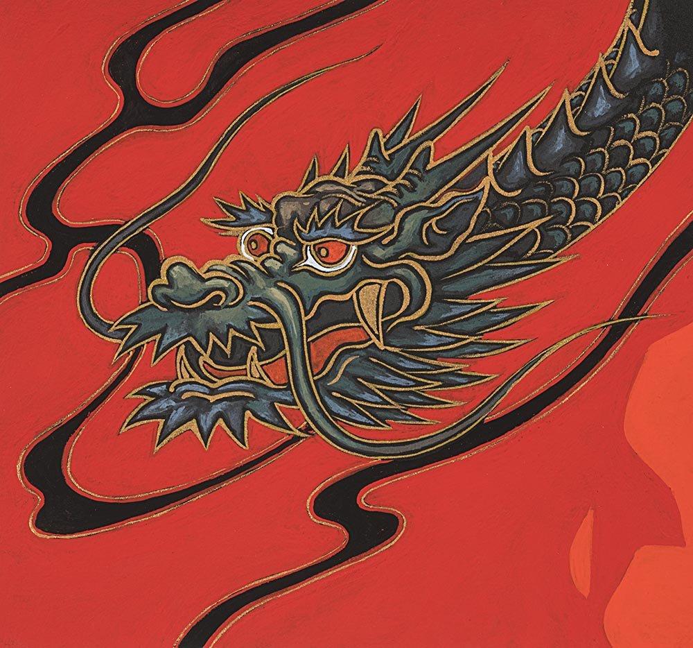 Alexander Henry Fabrics - Golden Tatsu - Red
