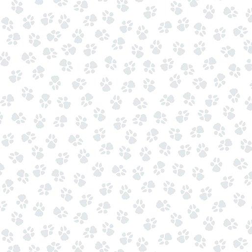 Benartex - Dog On It - Paw Prints - White/Light Grey
