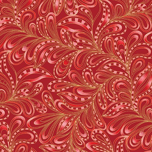 Benartex - CAT-I-TUDE - Christmas - Featherly Paisley - Rouge