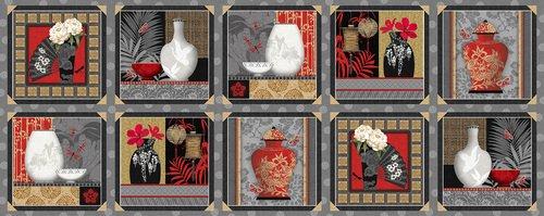 Blank Quilting - Narumi - Panel - Blocks with Vases - Gray