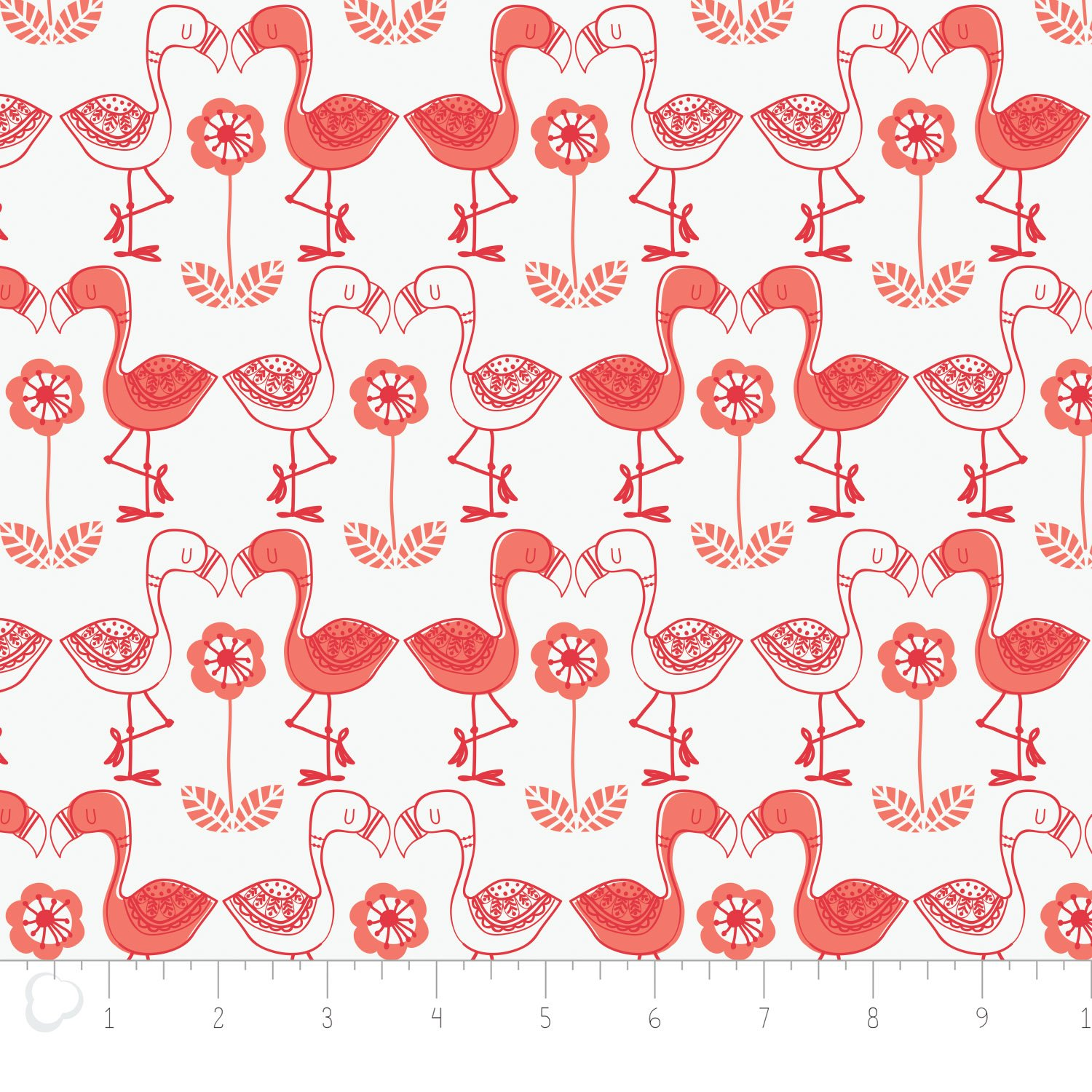 Camelot Fabrics-Jungly by Andrea Turk-Flamingos in White
