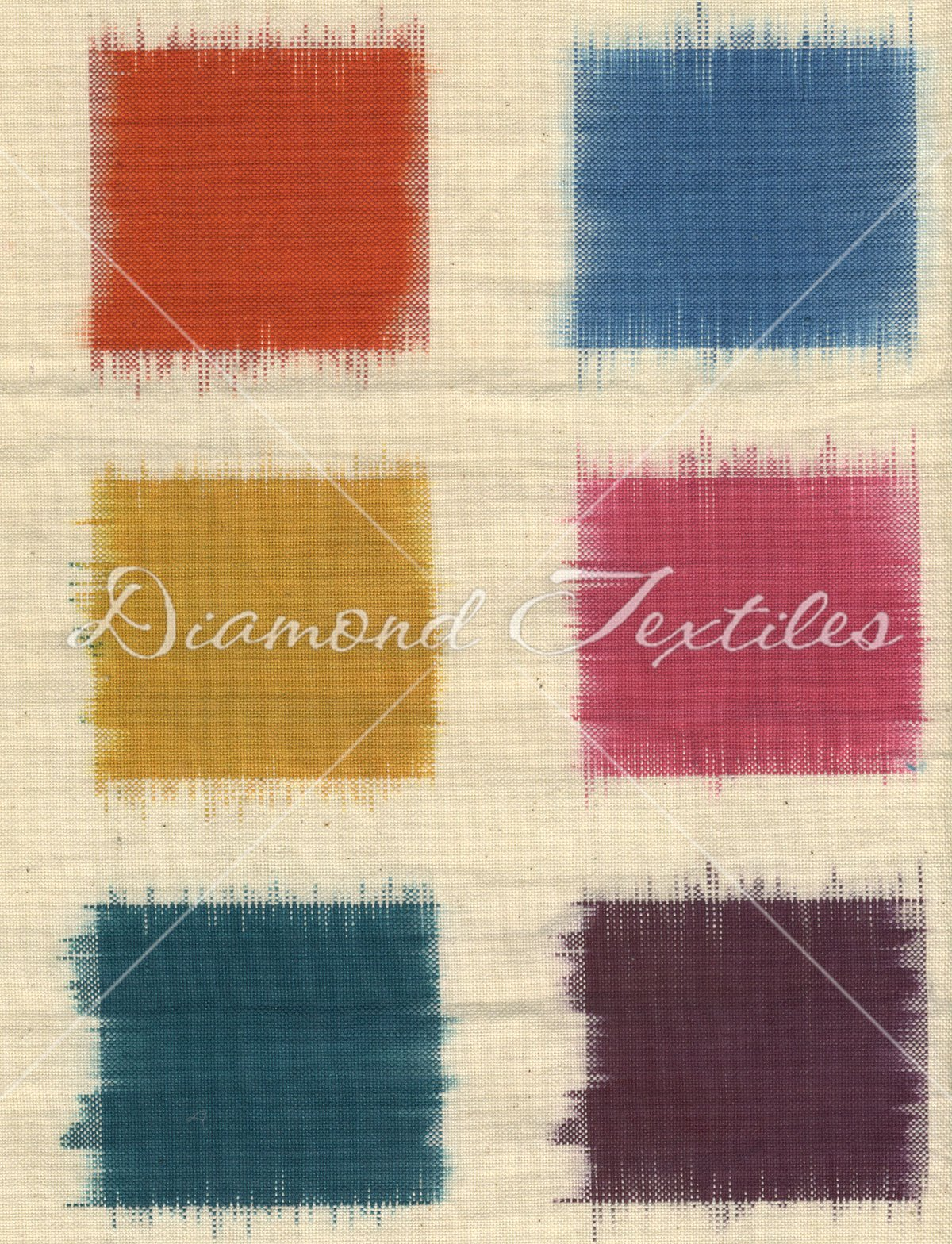 Diamond Textiles - Ikat Collection - Squares - Natural