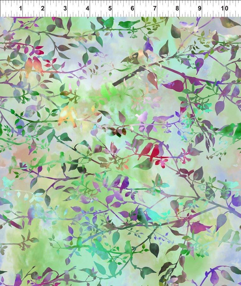 In The Beginning Fabrics - Garden of Dreams - Birds - Spring Green