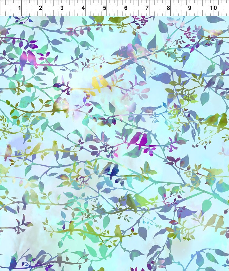In The Beginning Fabrics - Garden of Dreams - Birds - Soft Sky