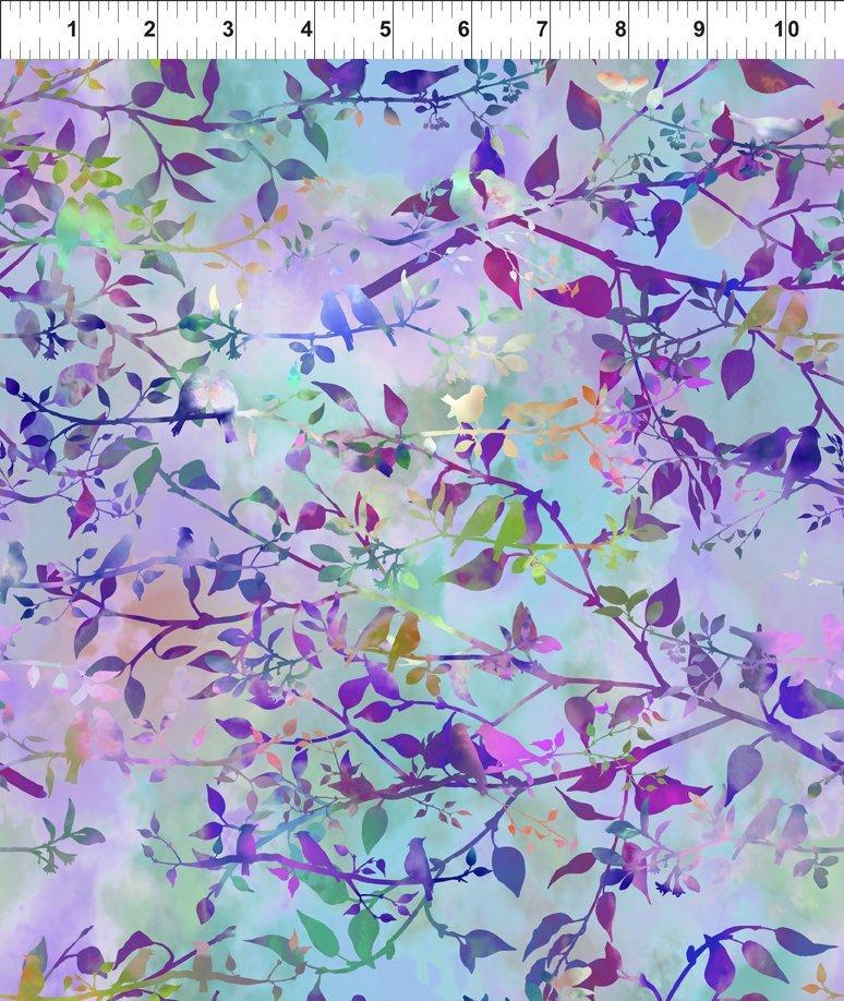 In The Beginning Fabrics - Garden of Dreams - Birds - Lavender Haze