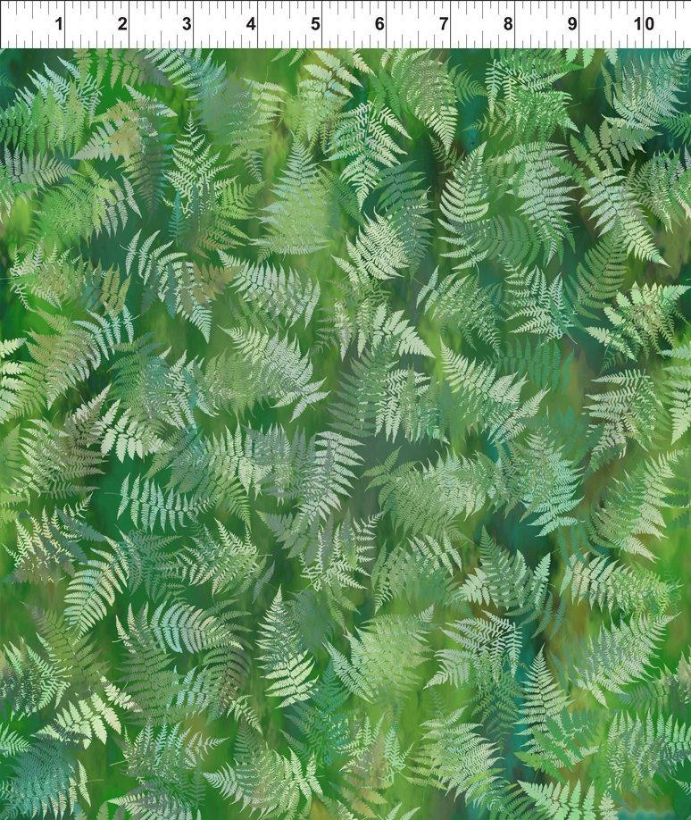 In The Beginning Fabrics - Garden of Dreams - Ferns - Deep Forest