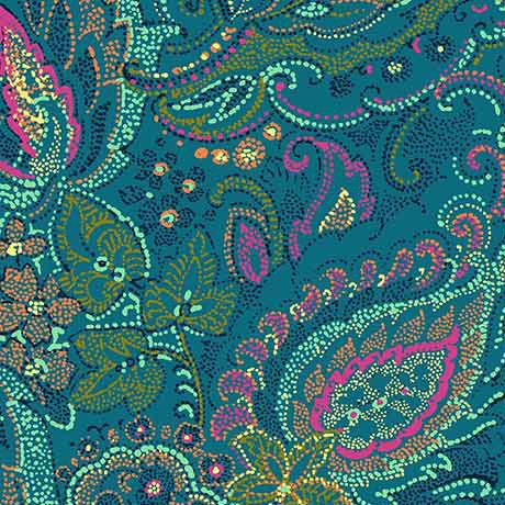 Ashtyn - Dotted Paisley - Teal