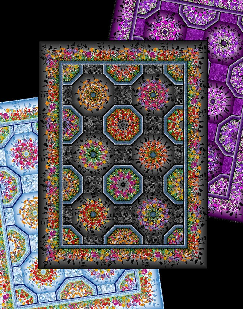 In The Beginning Fabrics - Patterns by Jason Yenter - Dreamscapes II One-Fabric Kaleidoscope Pattern