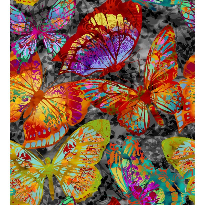 In The Beginning Fabrics - Dreamscapes II - Large Butterflies - Black/Multi