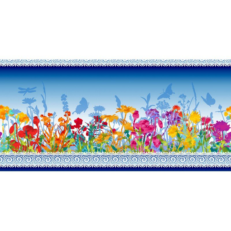 Dreamscapes II - Border Print - Blue