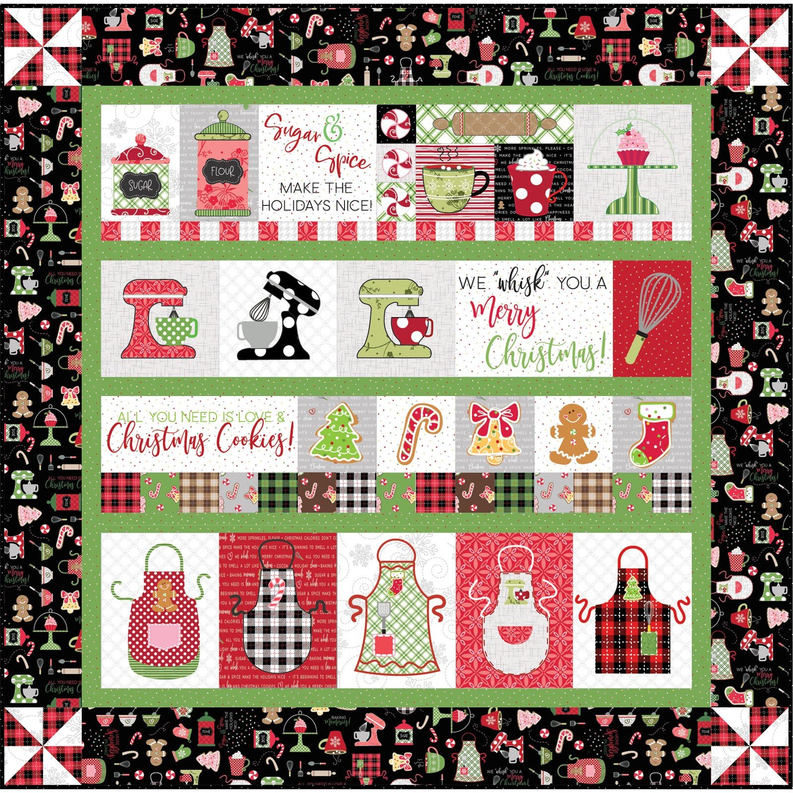Maywood Studios - We Whisk You A Merry Christmas - Quilt Kit - Black Embroidery Version