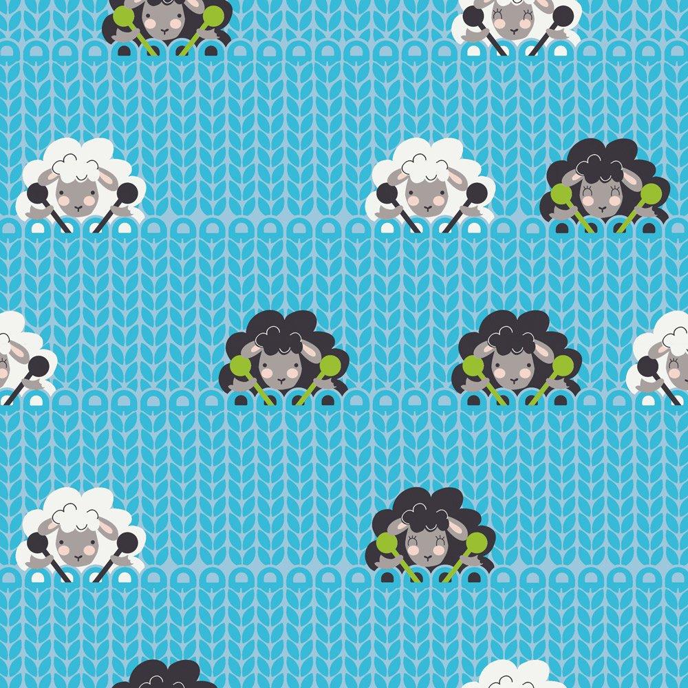 Stof Fabrics - Crafty Critters - Knitting Sheep - Turquoise