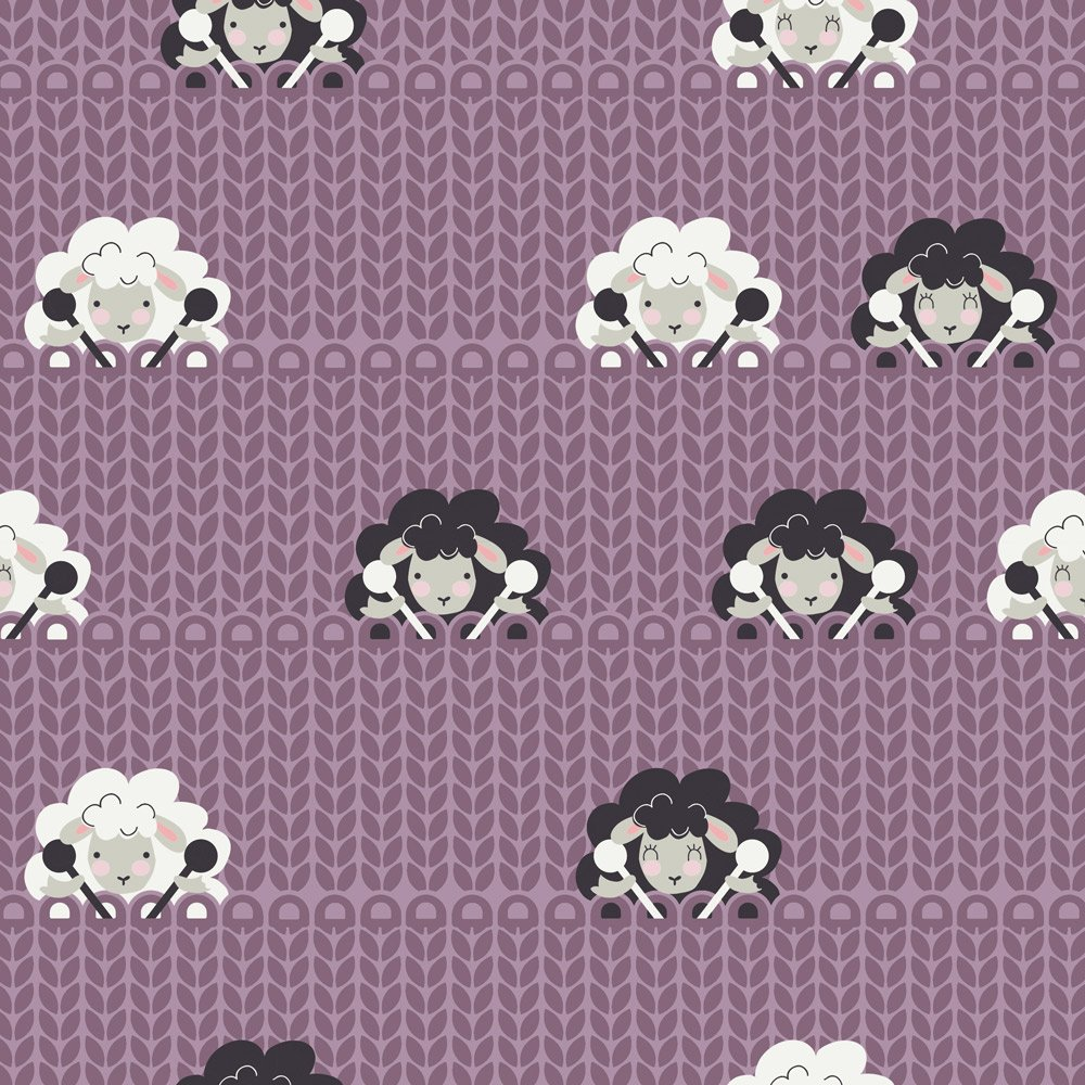 Stof Fabrics - Crafty Critters - Knitting Sheep - Mauve
