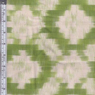 Textile Creations - Mayan Block Ikat Squares - Apple Green/Natural