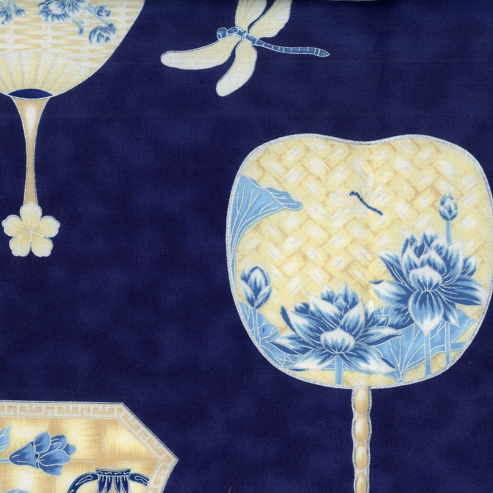 The Textile Pantry - Summer Palace - Fans - Blue