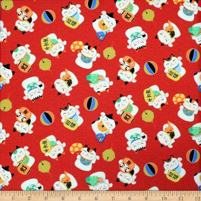 Trans Pacific Textiles - Lucky Cat - Red