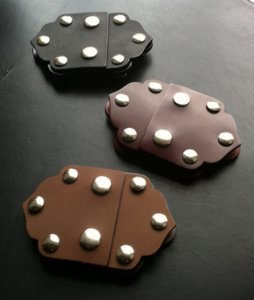 Venetian Hinge Leather Snap Closure-Chocolate