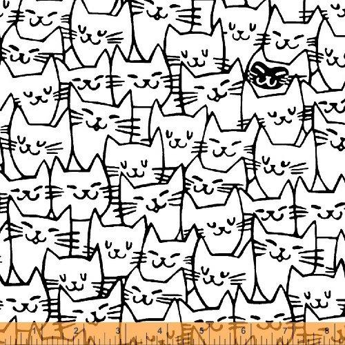 Windham Fabrics - Cat Happy - Cat Faces - White