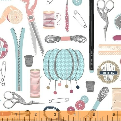 Windham Fabrics - Crafters Gonna Craft - Sewing Tools - White