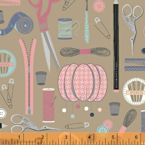 Windham Fabrics - Crafters Gonna Craft - Sewing Tools - Tan