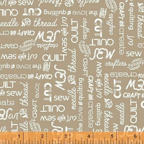 Windham Fabrics - Crafters Gonna Craft - Sewing Words - Tan