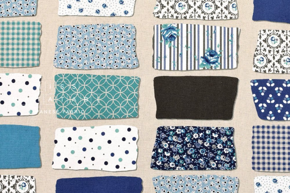 Yuwa-Floral Patch-Blue-Canvas