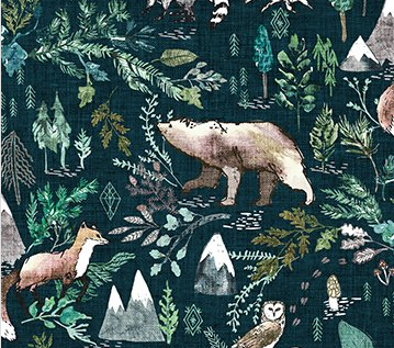 Forest Fable Woodland Navy Multi