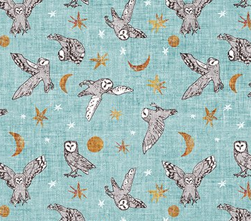 Forest Fable Owls Teal Multi