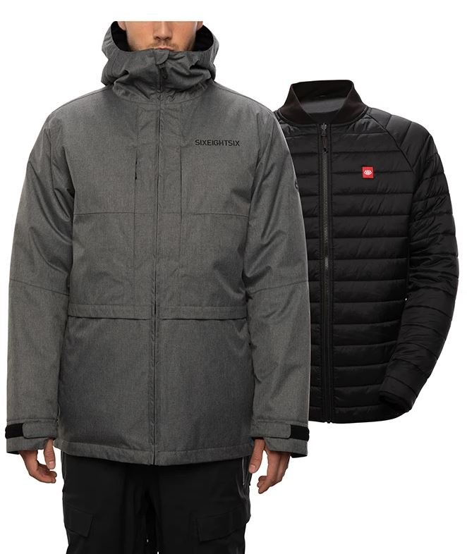 686 Men's Smarty Form 3-in-1 Jacket - Grey Melange