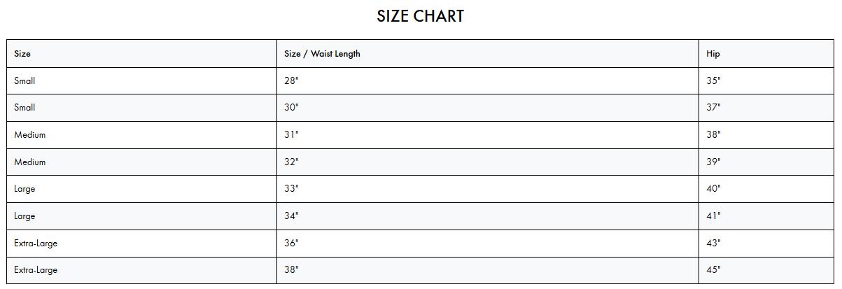 Brixton Steady Elastic Waistband Short Size Chart