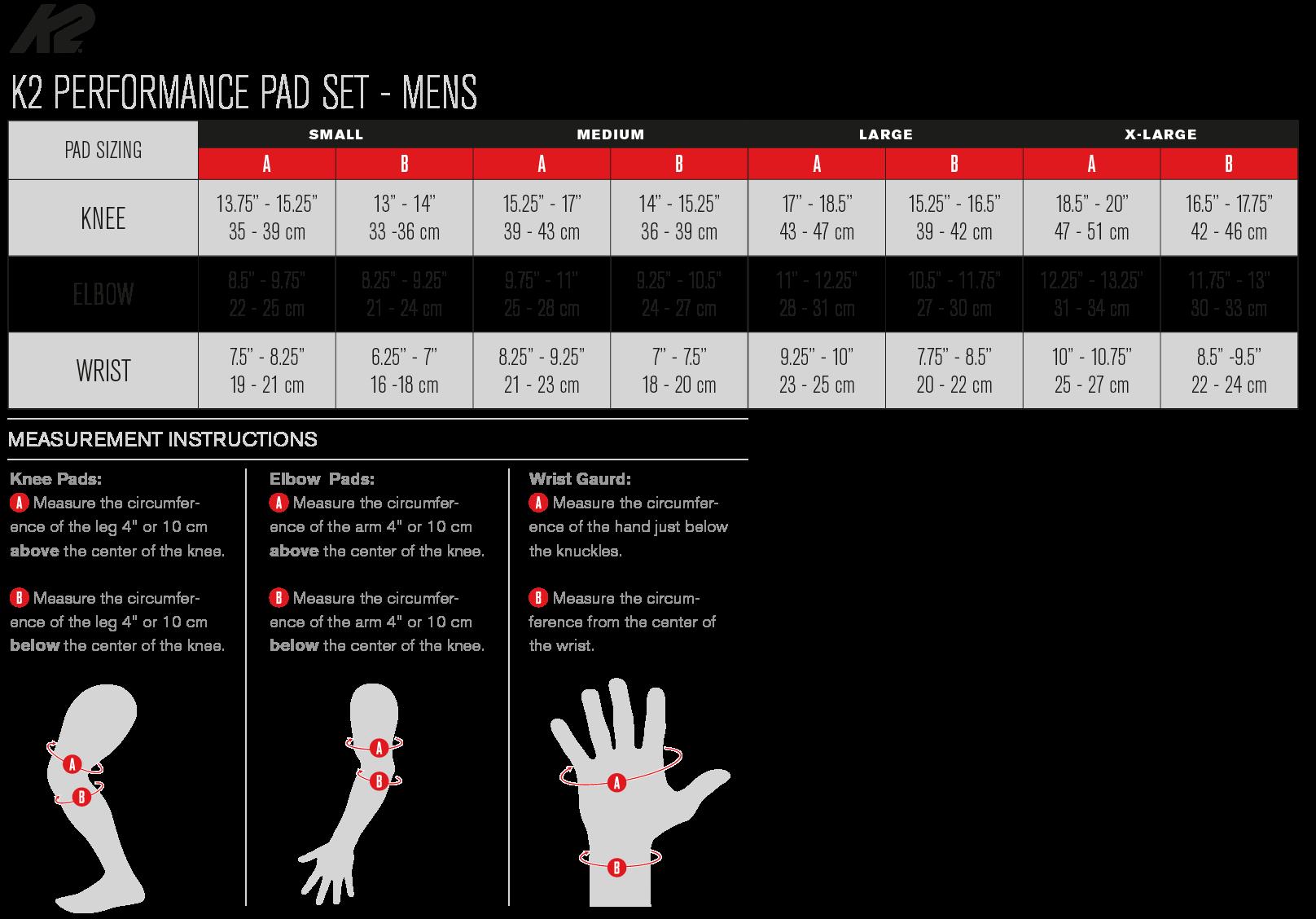 K2 Performance Pad Size Chart