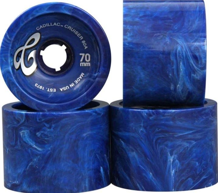 Cadillac Cruiser 70mm 80a Longboard Wheels - Marble Blue