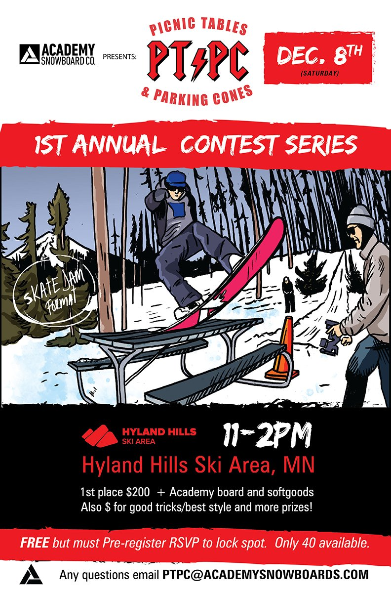 Academy Snowboards Picnic Tables and Parking Cones at Hyland Hills