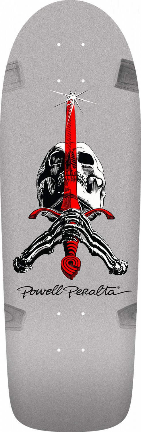 Powell Peralta Ray Rodriguez OG Skull and Sword Silver - 10.0 x 30.0 Skateboard Deck