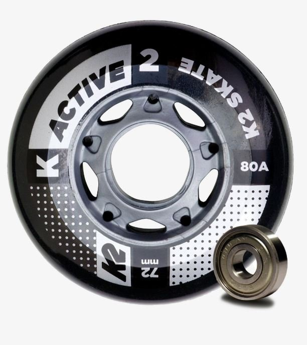 K2 Active 72MM/80A + ILQ 5  Bearings 8 Pack