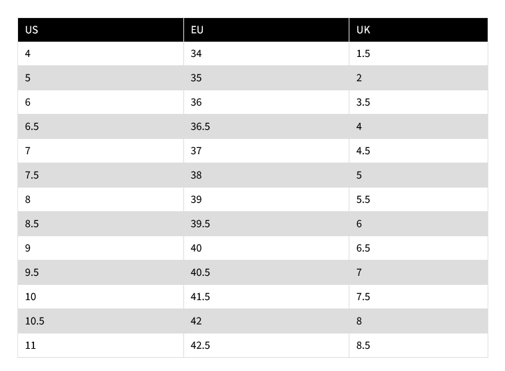 K2 Skate Size Chart