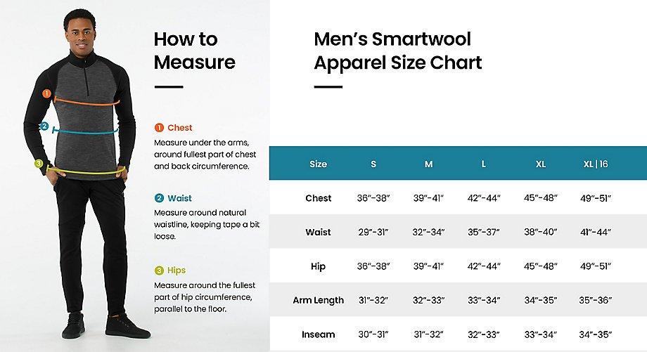 Smartwool Men's Merino 150 Printed Boxer Brief Size Chart