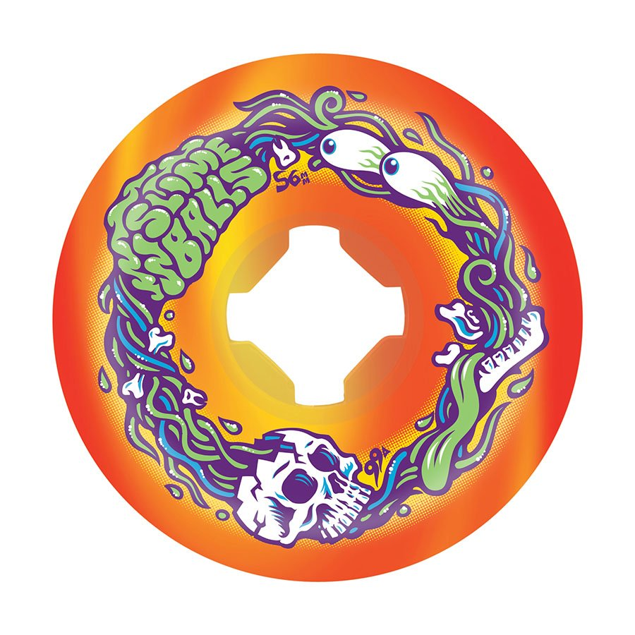 Slime Balls Brains Speed Balls 56mm 99a Orange Yellow Swirl Skateboard Wheels