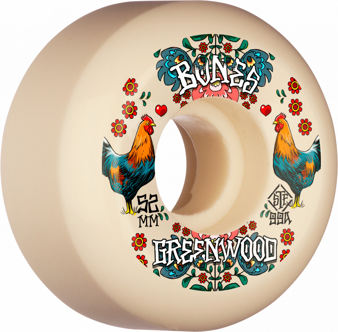 Bones Pro STF Greenwood Decoupe V5 Sidecut 52mm 99A Skateboard Wheels S