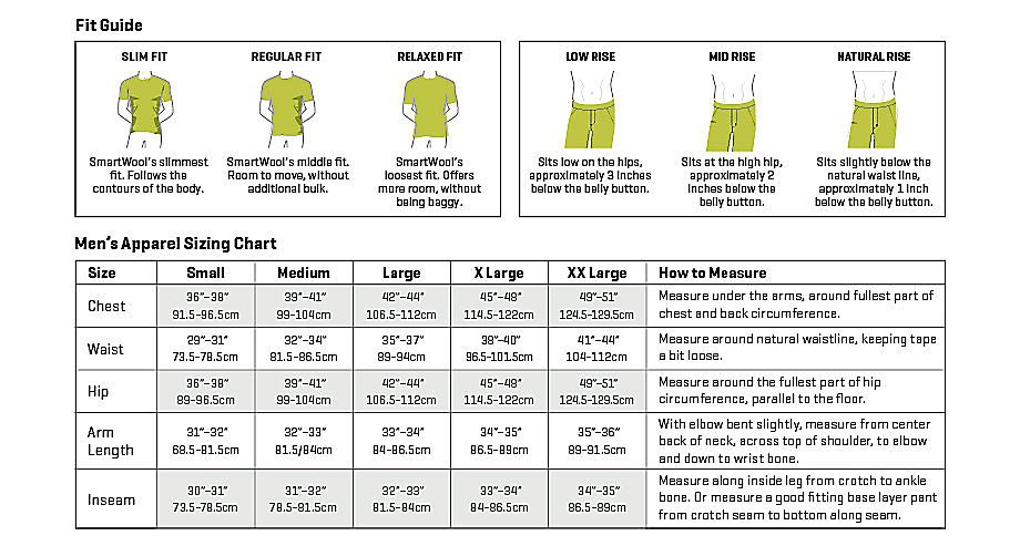 Smartwool Men's Apparel Size Chart